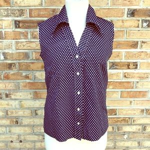 🎟 Vintage sleeveless blouse with polka dots